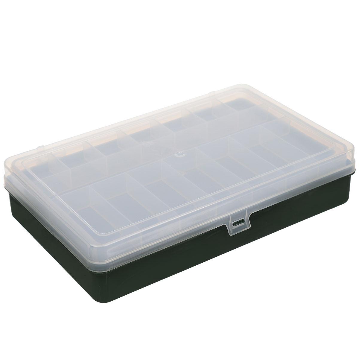 Коробка для мелочей Trivol, двухъярусная, цвет: темно-зеленый, прозрачный, 23,5 см х 15 см х 5 см525824_темно-зеленыйДвухъярусная коробка для мелочей Trivol изготовлена из высококачественного пластика. Прозрачная крышка позволяет видеть содержимое коробки. Изделие имеет два яруса. Верхний ярус представляет собой съемное отделение, в котором содержится 15 прямоугольных ячеек. Нижний ярус имеет 7 ячеек разного размера. Коробка прекрасно подойдет для хранения швейных принадлежностей, рыболовных снастей, мелких деталей и других бытовых мелочей. Удобный и надежный замок-защелка обеспечивает надежное закрывание крышки. Коробка легко моется и чистится. Такая коробка поможет держать вещи в порядке. Размер самой маленькой ячейки: 3,5 см х 3 см х 1,7 см. Размер самой большой ячейки: 7,5 см х 11 см х 3,5 см. Рекомендуем!