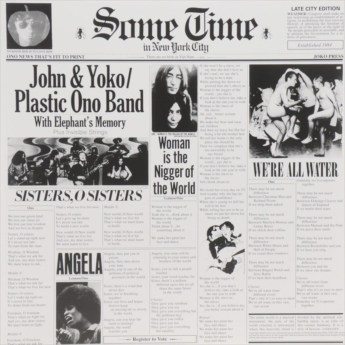 John & Yoko,The Plastic Ono Band,Elephant's Memory John & Yoko / Plastic Ono Band With Elephant's Memory. Some Time In New York City (2 LP) 6 speed cable band switch 25f