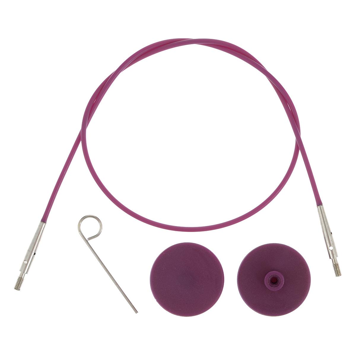 Тросик для съемных спиц KnitPro, с заглушками, цвет: фиолетовый, серебристый, длина 35 см цена