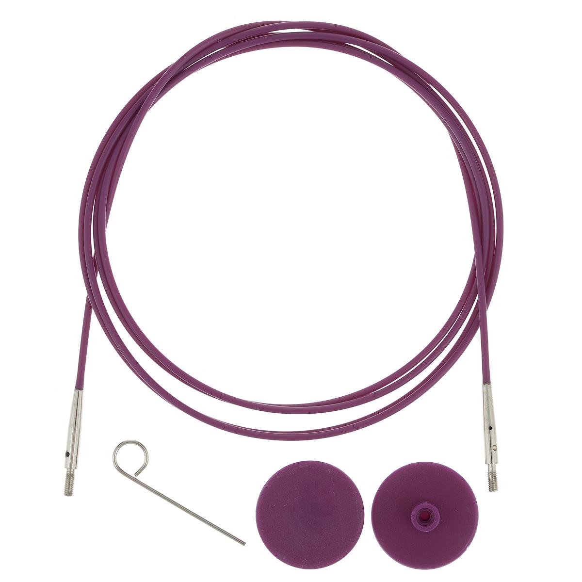 Тросик для съемных спиц KnitPro, с заглушками, цвет: фиолетовый, серебристый, длина 94 см цена