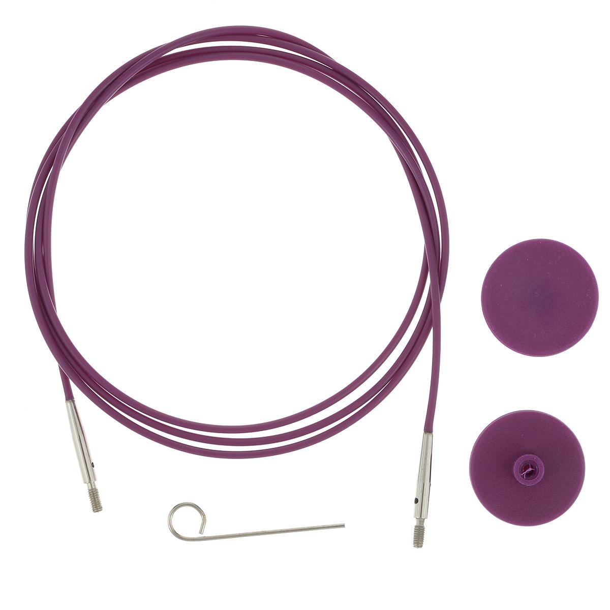 Тросик для съемных спиц KnitPro, с заглушками, цвет: фиолетовый, серебристый, длина 126 см цена