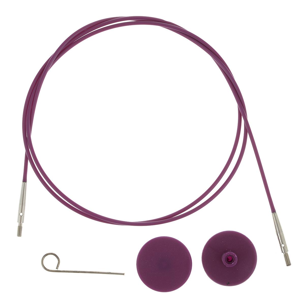 Тросик для съемных спиц KnitPro, с заглушками, цвет: фиолетовый, серебристый, длина 76 см цена