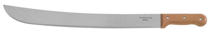 Мачете 30 см26620/012-TRМачете Tramontina будет необходимым аксессуаром в походе, на рыбалке или на даче для рубки сучьев, кустарников и других растений. Мачете имеет длинный и широкий прямой клинок, изготовленный из высококачественной стали, которая обладает высокой прочностью и твердостью. Эти свойства долгое время сохраняют остроту лезвия и увеличивают срок эксплуатации изделия. Мачете снабжено деревянной рукояткой удобной формы. Материал: сталь, дерево ; цвет: коричневый Рекомендуем!
