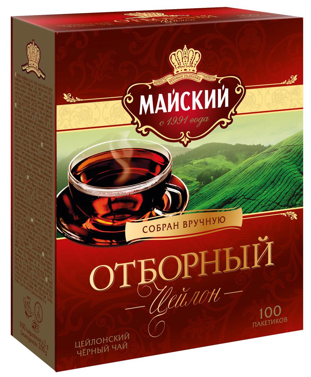 Майский Отборный черный чай в пакетиках, 100 шт цена и фото