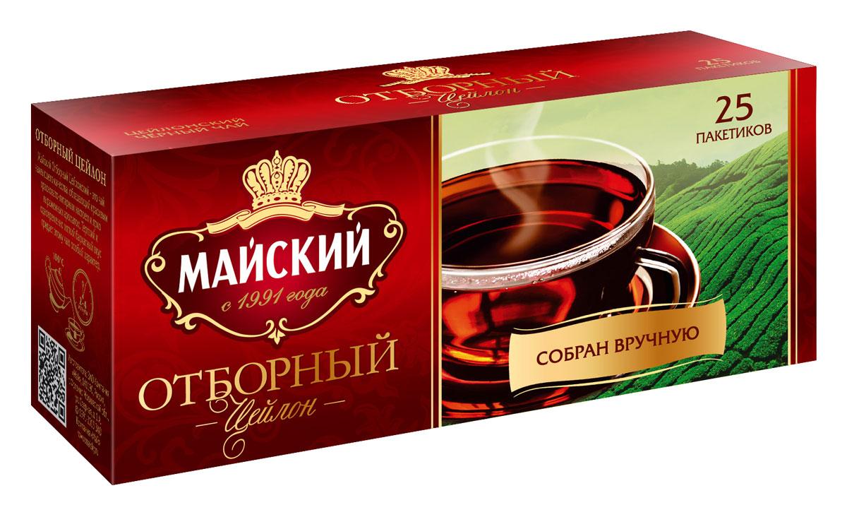 Майский Отборный черный чай в пакетиках, 25 шт цена и фото