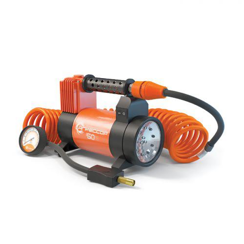 Компрессор автомобильный Агрессор AGR-50L со встроенным фонарем, металлический, производительность 50 л/мин, 12В, 280Вт