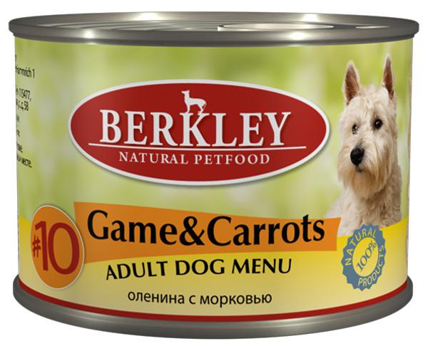 """Консервы для собак Berkley """"№10"""", оленина с морковью, 200 г"""