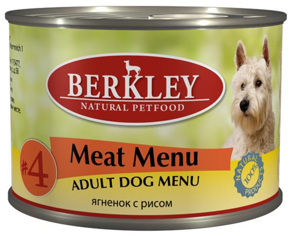 """Консервы для собак Berkley """"№4"""", ягненок с рисом, 200 г"""