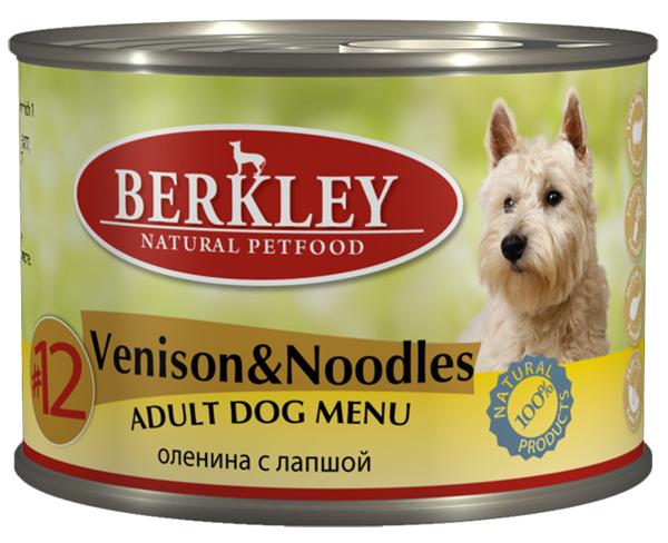 Консервы для собак Berkley №12, оленина с лапшой, 200 г