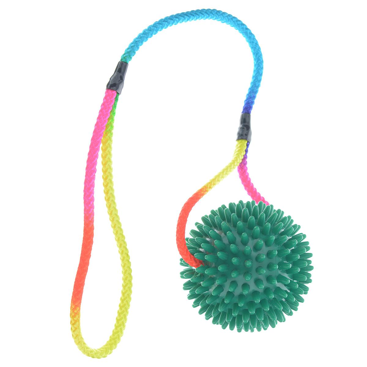 Игрушка для собак V.I.Pet Массажный мяч, на шнуре, цвет: зеленый, диаметр 9 см игрушка для собак safemade biggie bone цвет зеленый длина 20 см