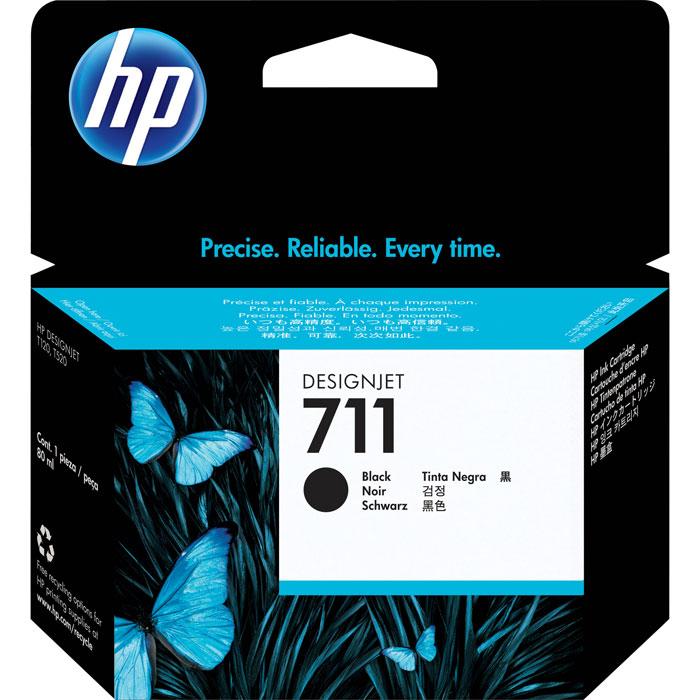 Картридж HP 711, черный, для струйного принтера, оригинал картридж hp 711 с голубыми чернилами 29мл cz130a