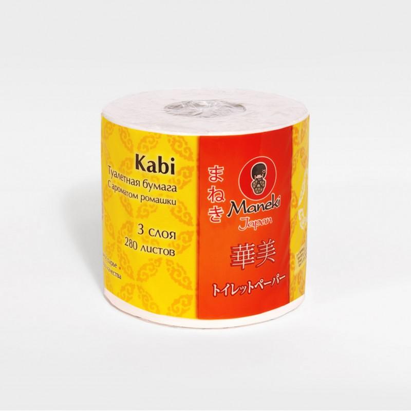 """Бумага туалетная Maneki """"Kabi"""", трехслойная, цвет: белый, 10 рулонов"""