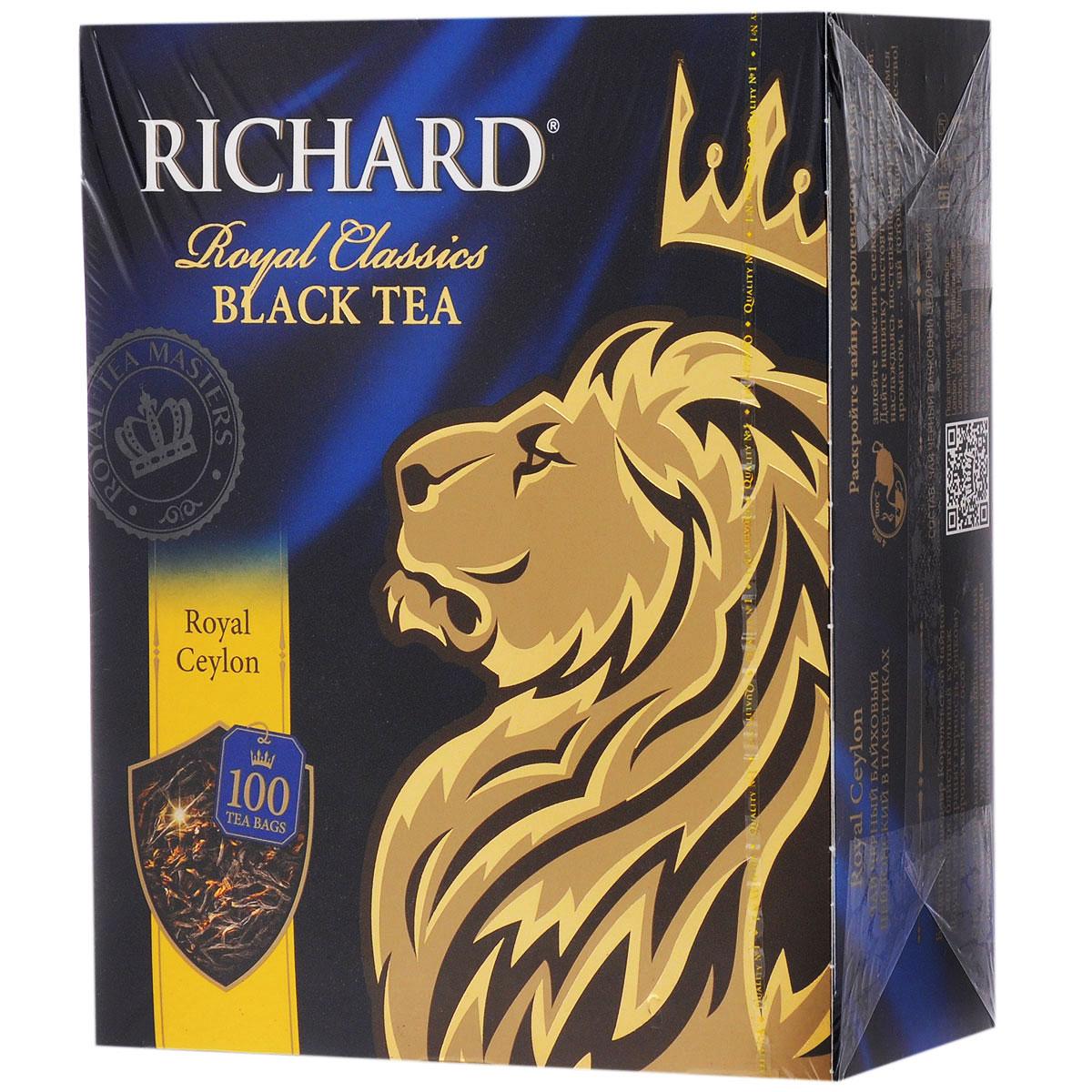 Richard Royal Ceylon черный чай в пакетиках, 100 шт lipton черный чай heart of ceylon 100 шт