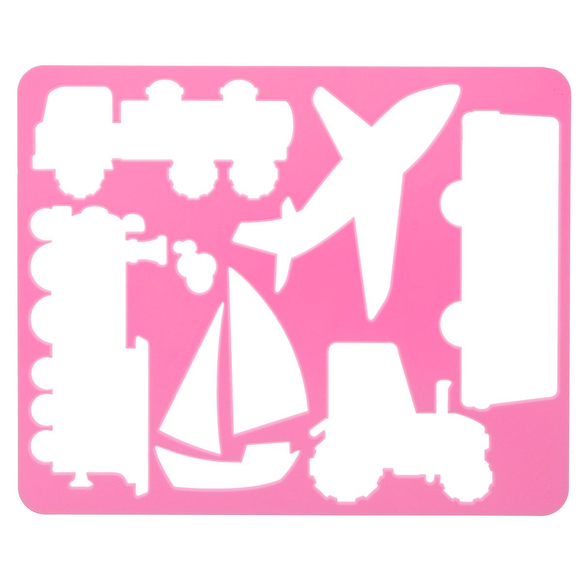 """Луч Трафарет прорезной """"Виды транспорта"""", цвет: розовый"""