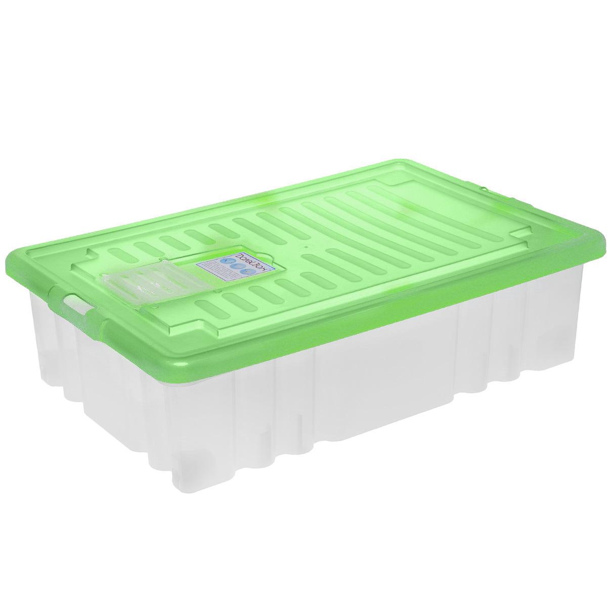 Ящик Darel Box, с крышкой, цвет: прозрачный, салатовый, 36 л ящик darel box с крышкой цвет салатовый прозрачный 18 л