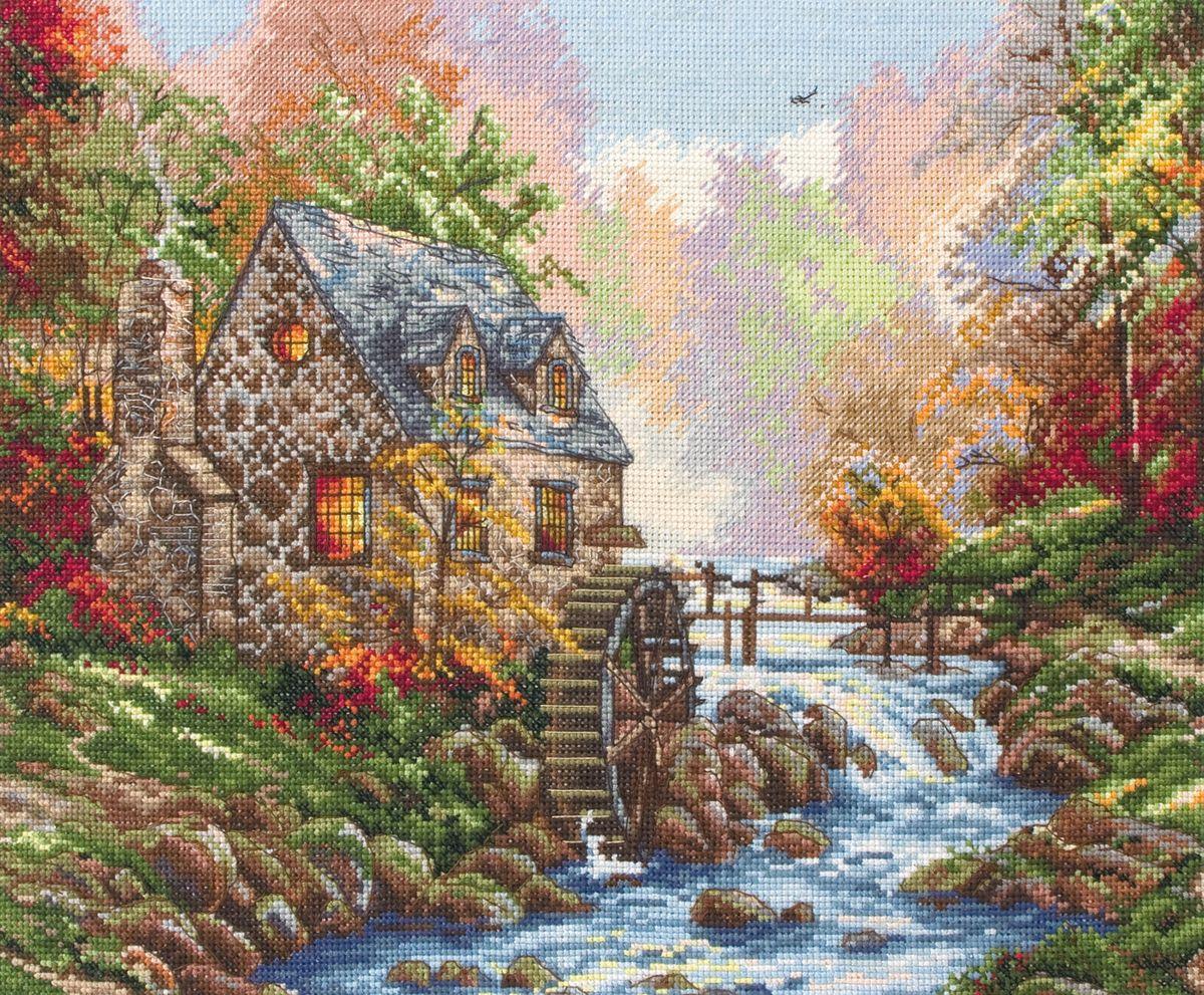 Набор для вышивания Maia Cobblestone Mill /Кобблстоунская мельница/ 25*32см (состав: канва Aida 16, цветная схема, нитки Anchor, игла, инструкция), счетный крест aida 16 594