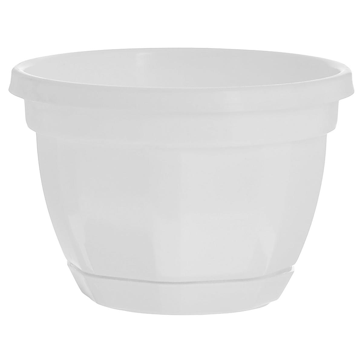 цена на Кашпо Инстар Ника, с поддоном, цвет: белый, диаметр 17 см