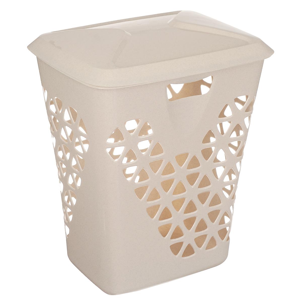 Корзина для белья Idea Венеция, цвет: бежевый мрамор, 60 л корзина для белья idea венеция узкая цвет белый