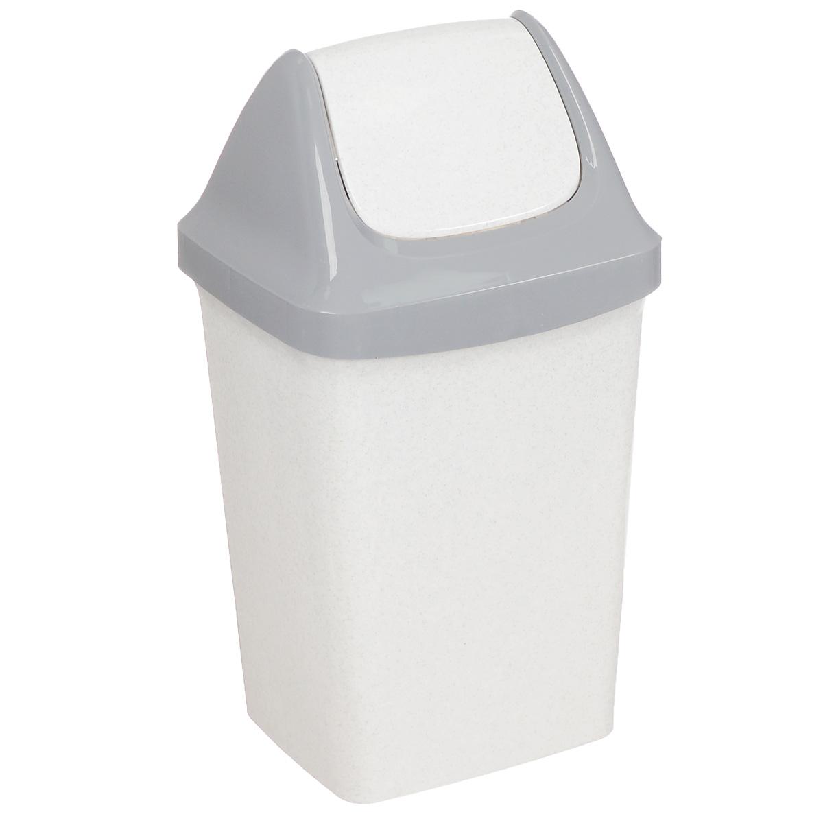 Контейнер для мусора Idea Свинг, цвет: белый мрамор, 9 л контейнер для мусора idea хапс цвет коричневый мрамор 15 л