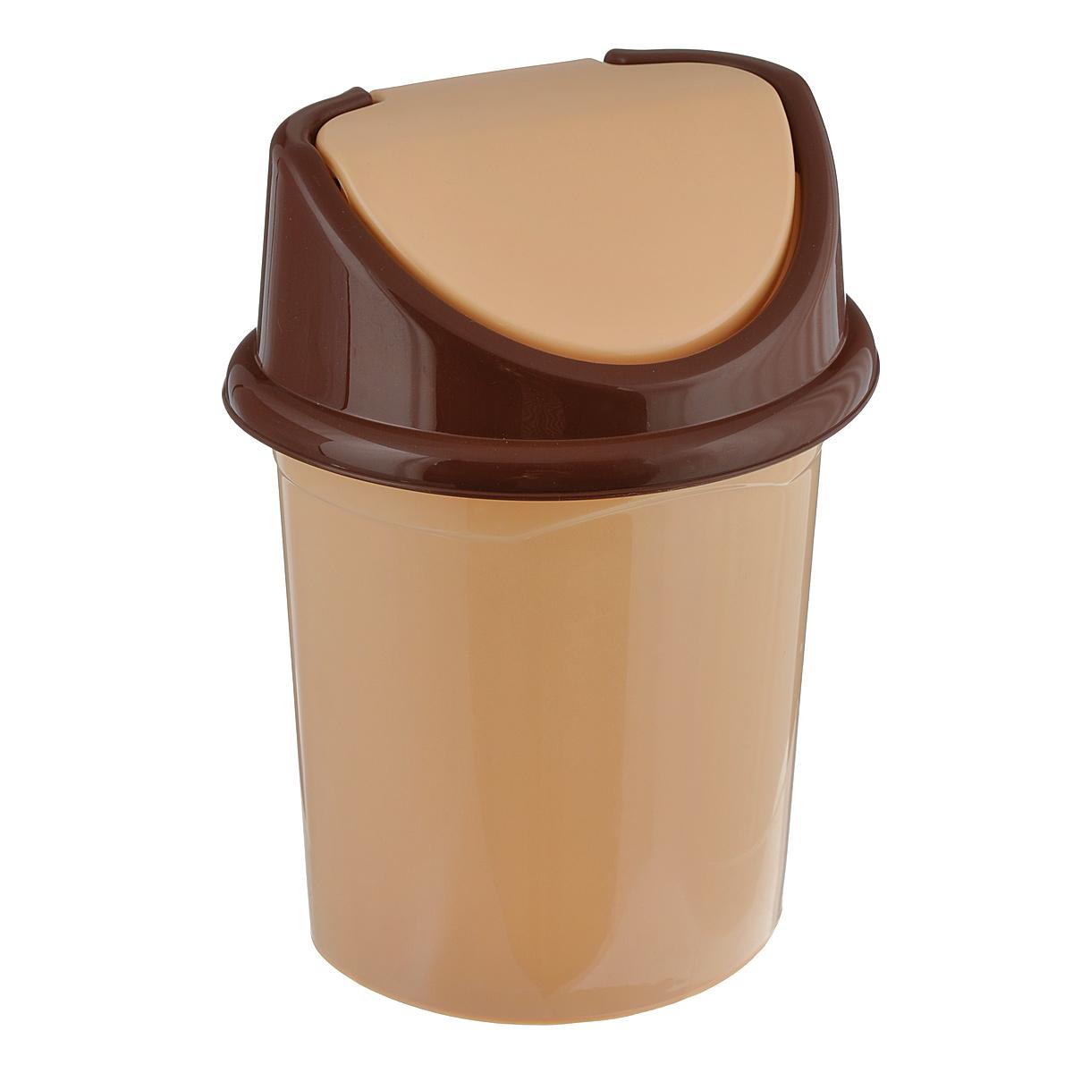 Контейнер для мусора Violet, цвет: бежевый, коричневый, 14 л контейнер для мусора plastic centre цвет бежевый коричневый 7 л