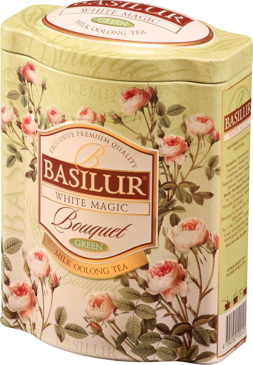 Basilur White Magic зеленый листовой чай, 100 г (жестяная банка) basilur frosty afternoon черный листовой чай 100 г жестяная банка