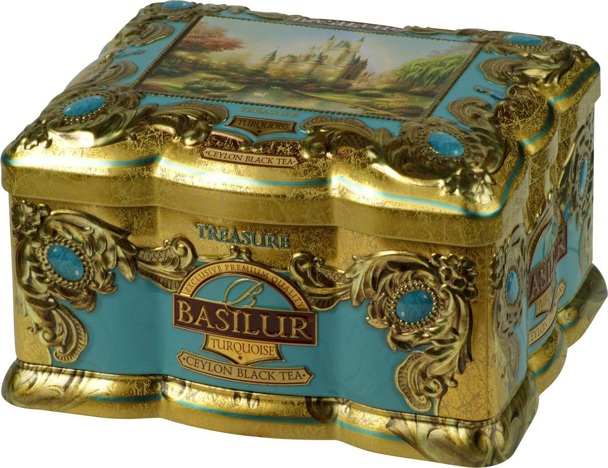Basilur Turquoise черный листовой чай, 100 г (жестяная банка) basilur frosty afternoon черный листовой чай 100 г жестяная банка