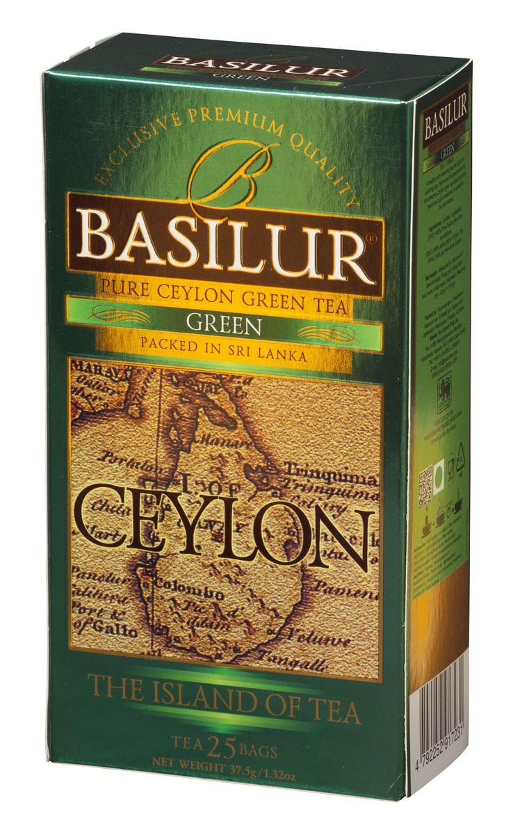 Basilur Green зеленый чай в пакетиках, 25 шт basilur frosty afternoon черный листовой чай 100 г жестяная банка