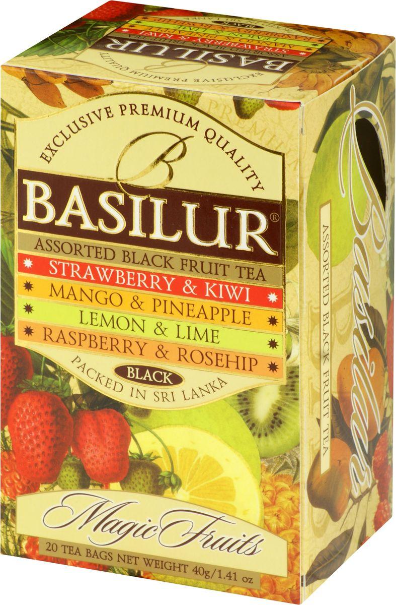 Basilur Assorted Magic Fruits черный чай в пакетиках, 20 шт био чай pages черный малина гранат 36г