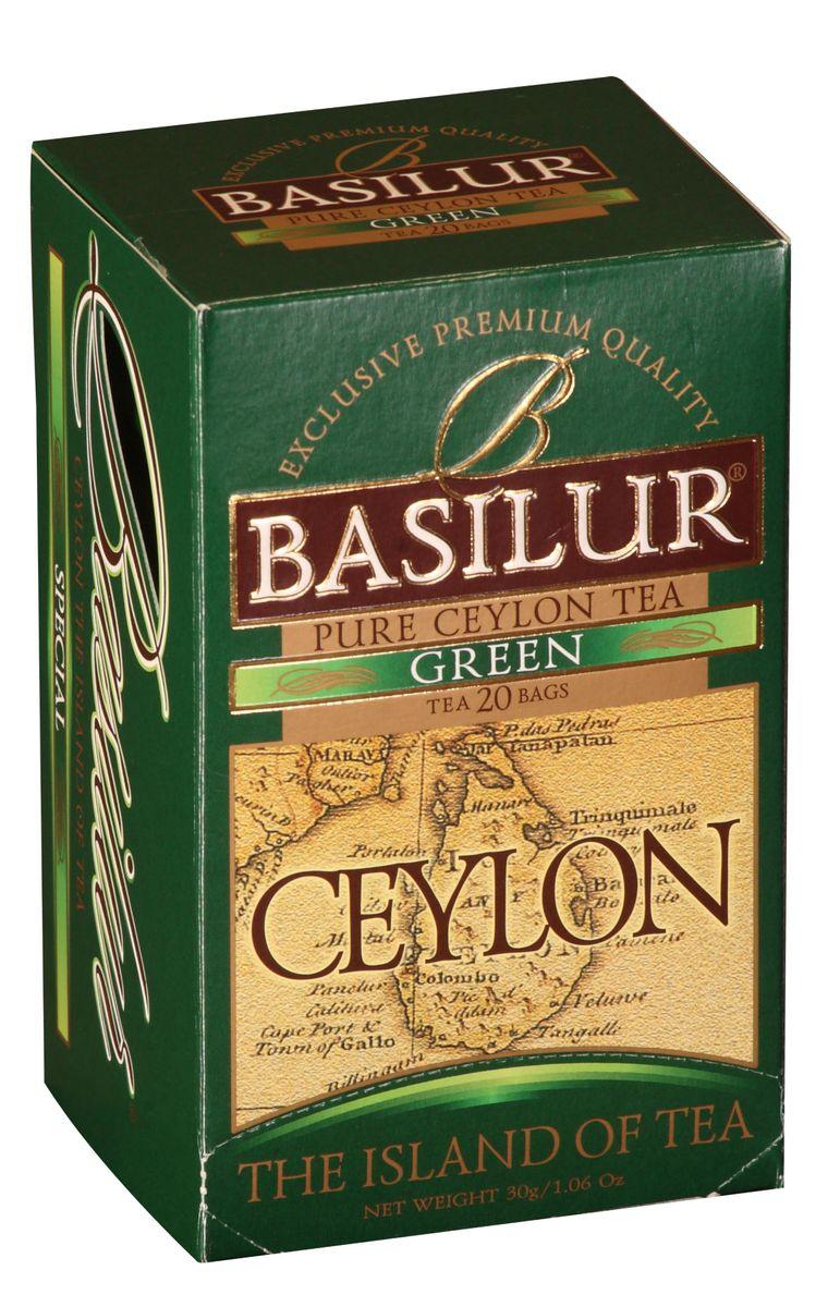 Basilur Green зеленый чай в пакетиках, 20 шт