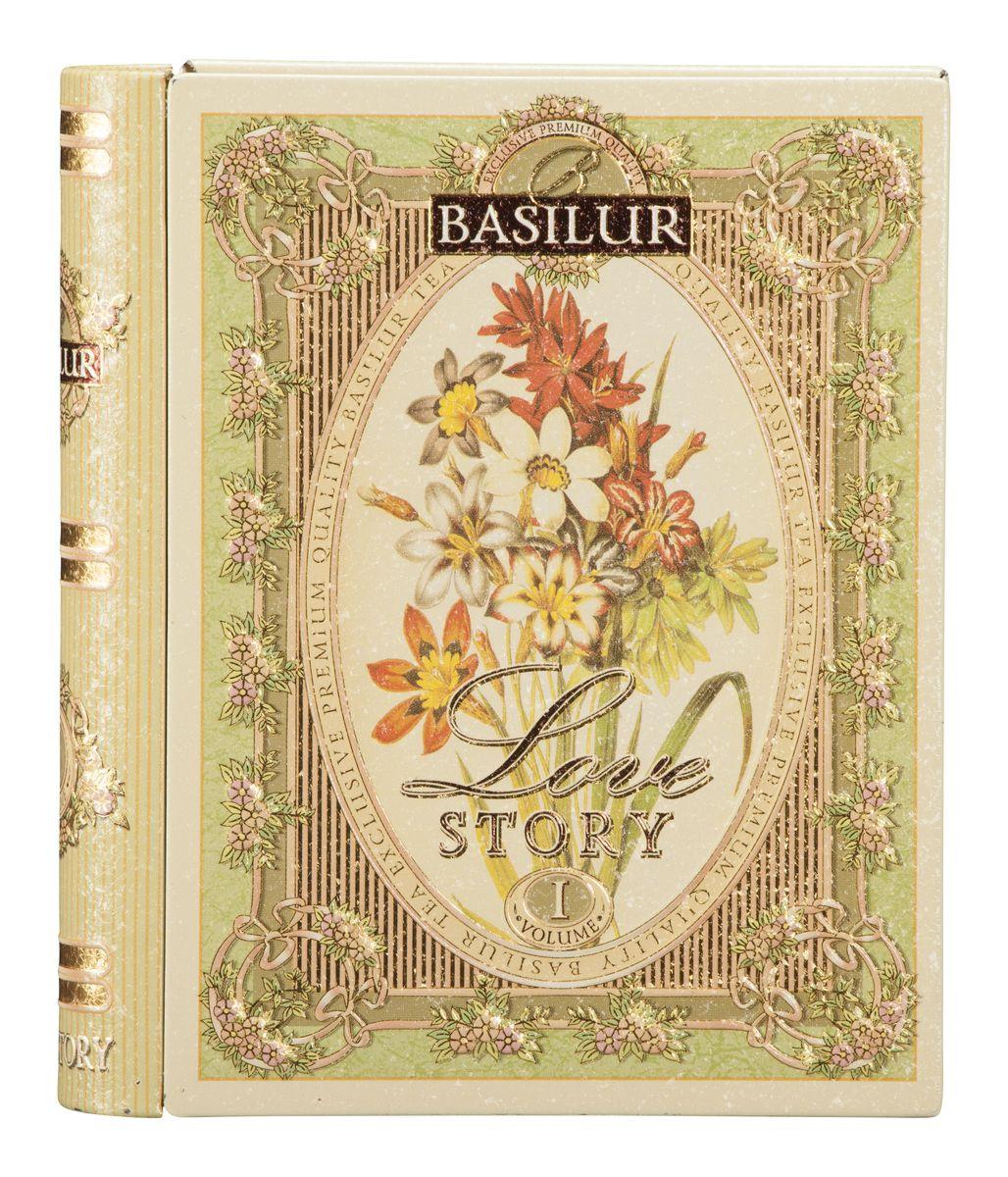Basilur Tea Book. Love Story I зеленый листовой чай, 100 г (жестяная банка) basilur frosty afternoon черный листовой чай 100 г жестяная банка