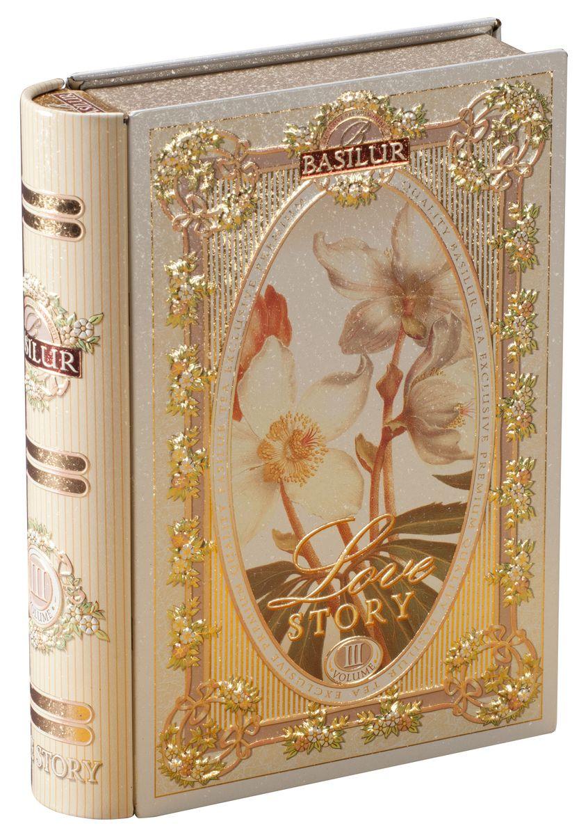 Basilur Tea Book. Love Story III зеленыйлистовой чай, 100 г (жестяная банка) basilur frosty afternoon черный листовой чай 100 г жестяная банка