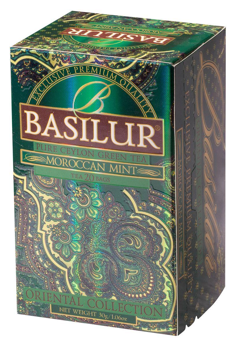Basilur Moroccan Mint зеленый чай в пакетиках, 20 шт