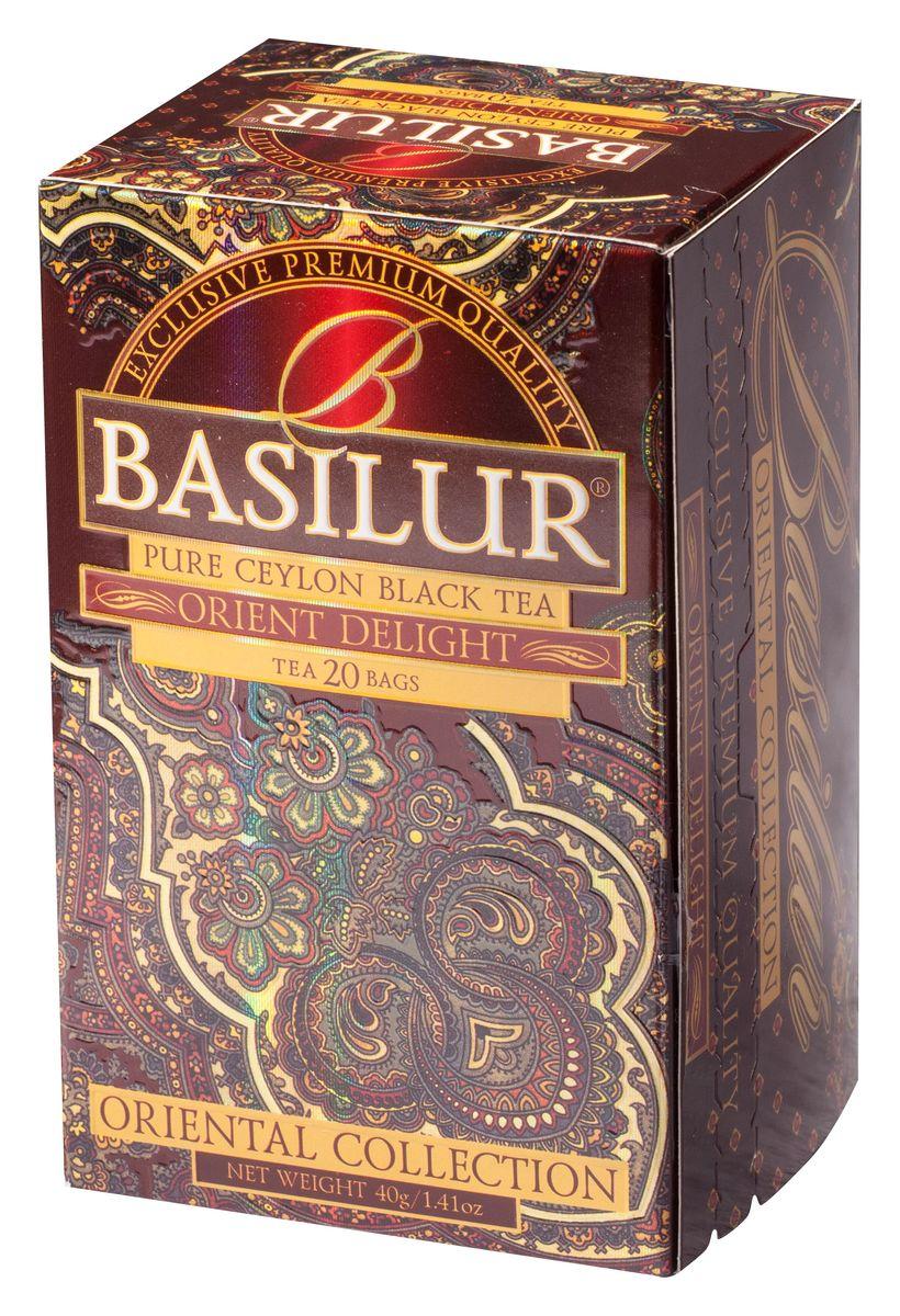 Basilur Orient Delight черный чай в пакетиках, 20 шт70398-00Чай чёрный цейлонский байховый мелколистовой Basilur Orient Delight с типсами в пакетиках с ярлычками для разовой заварки. Этот цейлонский чай сорта FBOP Extra Special с типсами (чайными почками) - для настоящих ценителей! Вас порадует насыщенный темно-красный настой и великолепный аромат с мягкой медовой нотой. Чайные почки - типсы - являются отличительным признаком высокого качества чая класса премиум. Два аккуратно скрученных листка и почка при заваривании создают неповторимый медовый аромат и тонкий нежный вкус чая, выращенного на горных склонах острова Цейлон. Всё о чае: сорта, факты, советы по выбору и употреблению. Статья OZON Гид