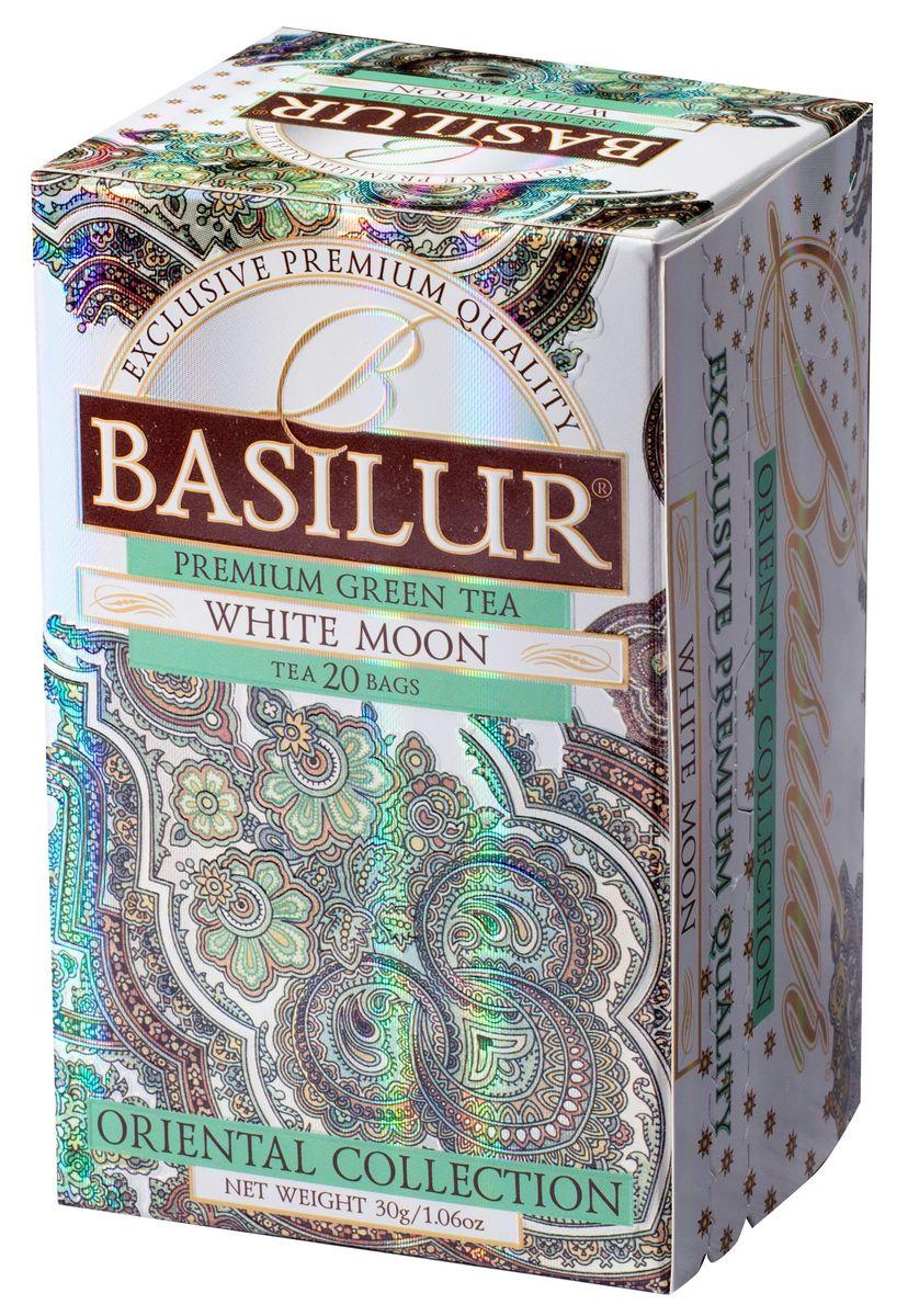 Basilur White Moon зеленый чай в пакетиках, 20 шт