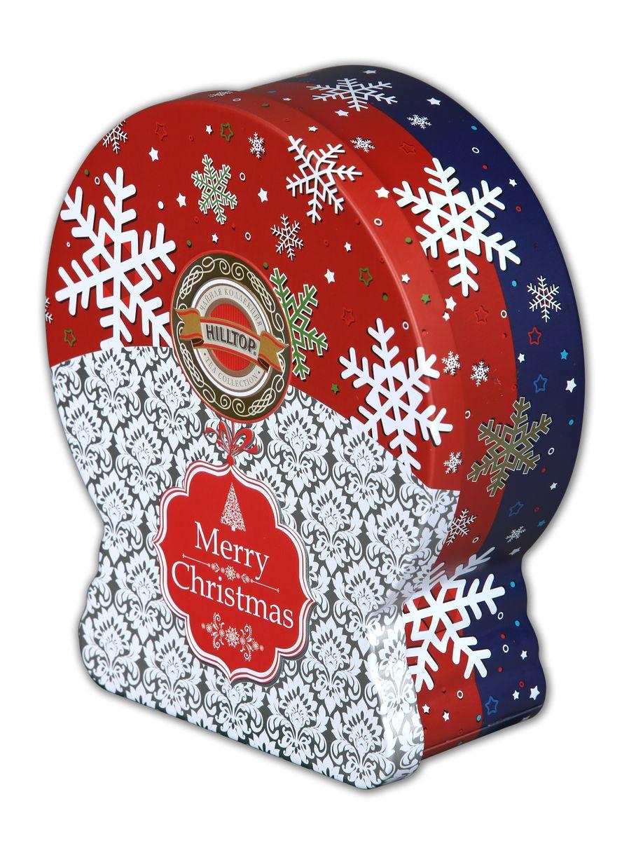 Hilltop Морозные узоры Рождественский черный листовой чай (банка-глобус), 100 г basilur frosty afternoon черный листовой чай 100 г жестяная банка