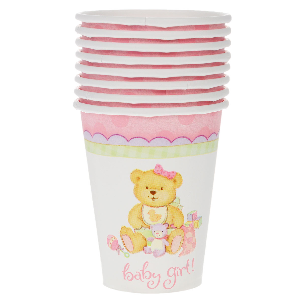 Веселая затея Стакан Медвежонок девочка, 8 шт веселая затея стакан медвежонок девочка 8 шт