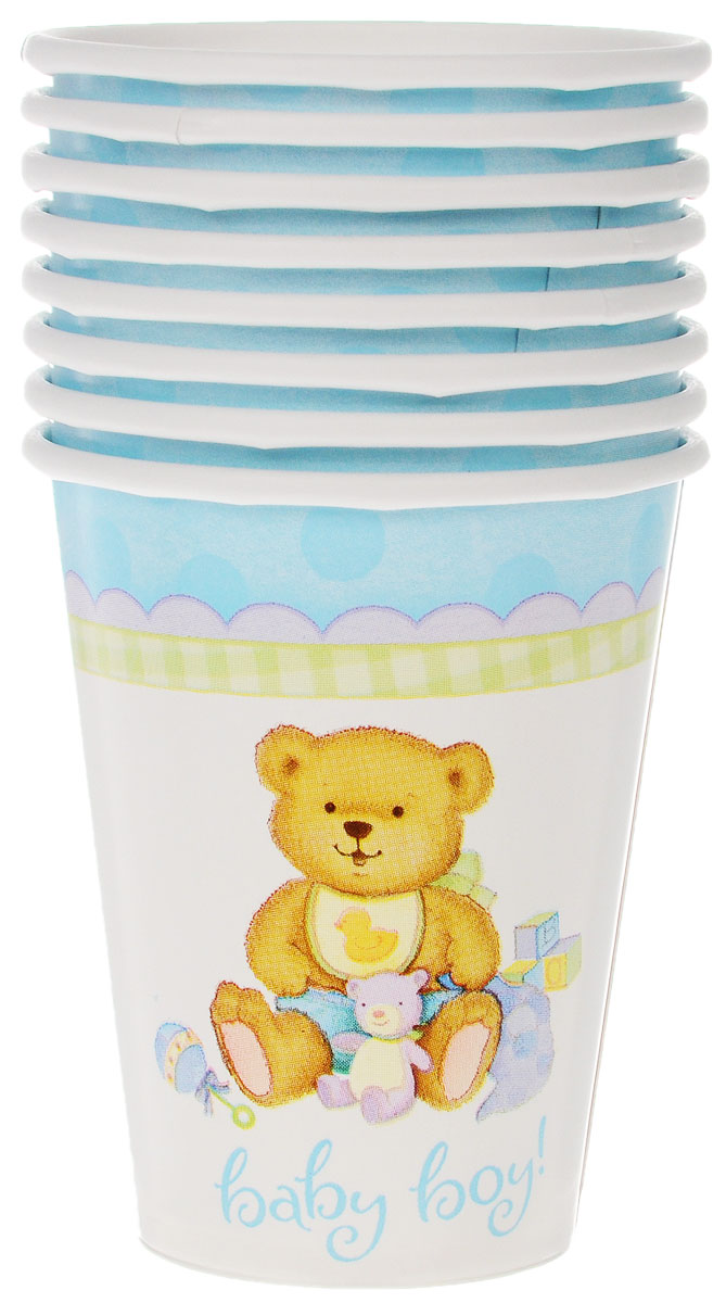 Веселая затея Стакан Медвежонок мальчик, 8 шт веселая затея стакан медвежонок девочка 8 шт