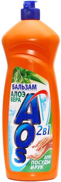 Жидкость для мытья посуды AOS Бальзам. Алоэ вера, 1 л средство для мытья посуды aos 450 мл бальзам 2в1 в ассорт