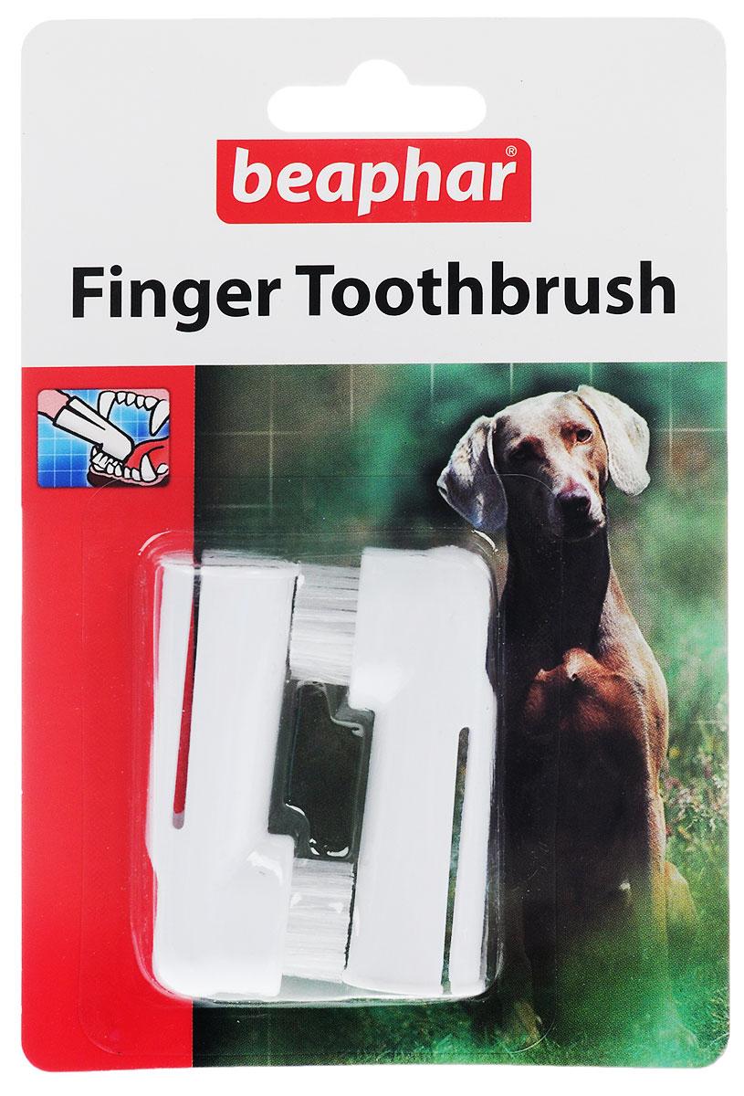 """Beaphar""""Toothbrush"""" зубная щетка на палец двойная для собак всех размеров, цвет: белый"""