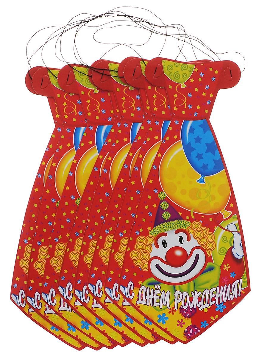 Веселая затея Галстук С днем рождения: Клоун, 8 шт веселая затея стакан медвежонок девочка 8 шт