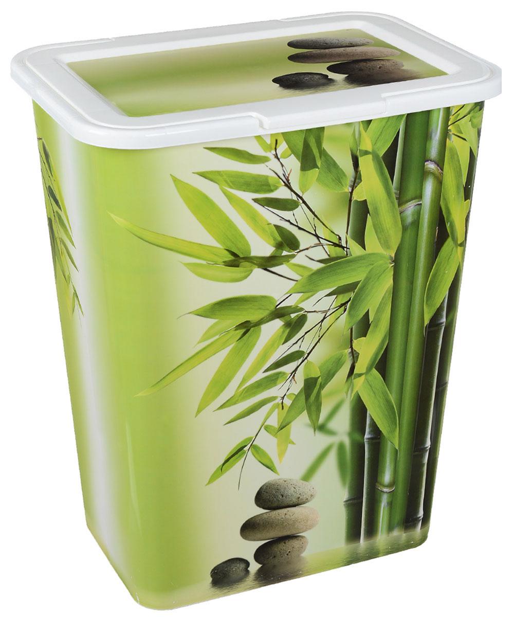 Корзина для белья Idea, цвет: белый, салатовый, 50 л 3 sprouts корзина для белья козочка