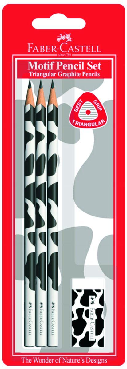 Faber-Castell Чернографитовый карандаш Triangular цвет корпуса черный белый мотив корова 3 шт + ластик в блистере faber castell чернографитовый карандаш faber castell perfekt pencil 1 шт точилка