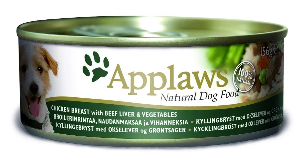 """Консервы """"Applaws"""", для собак, с курицей, говядиной, печенью и овощами, 156 г"""