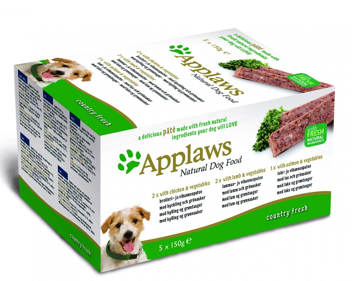 "Консервы для собак Applaws ""Курица. Ягненок. Лосось"", паштет, 5 шт х 150 г"