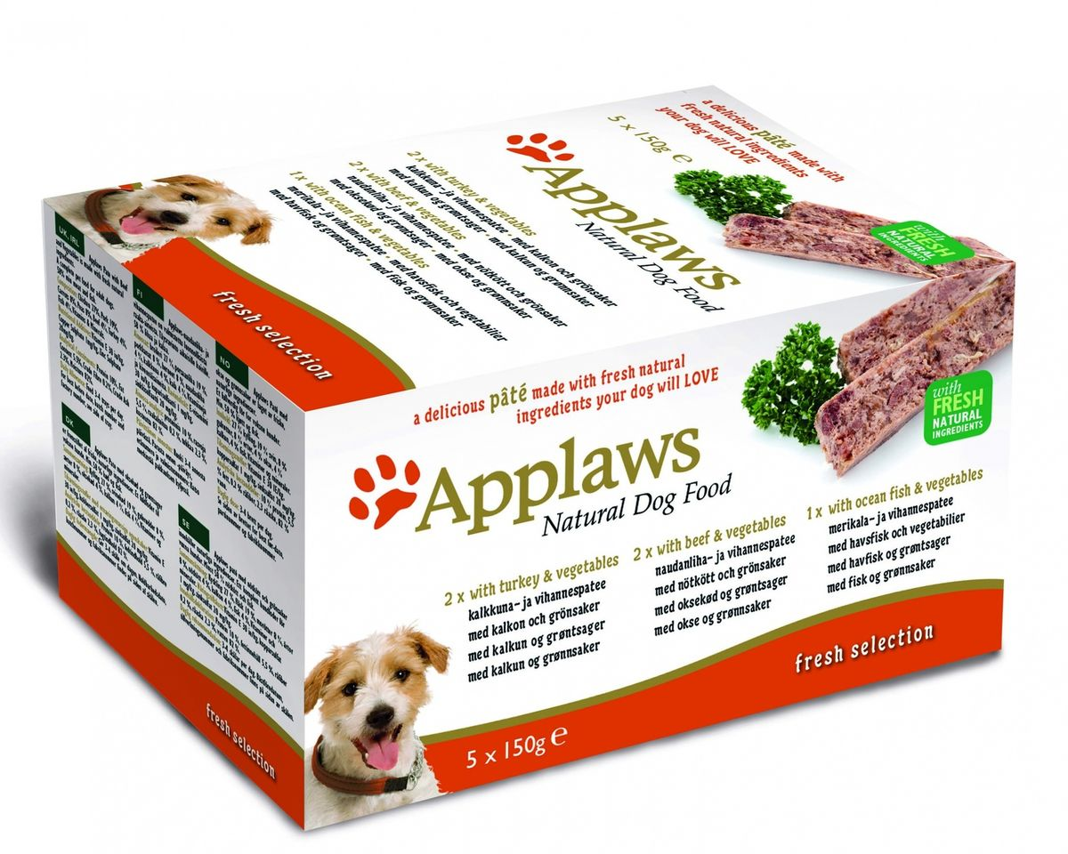 Консервы для собак Applaws Индейка. Говядина. Океаническая рыба, паштет, 5 шт х 150 г консервы для собак applaws курица ягненок лосось паштет 5 шт х 150 г