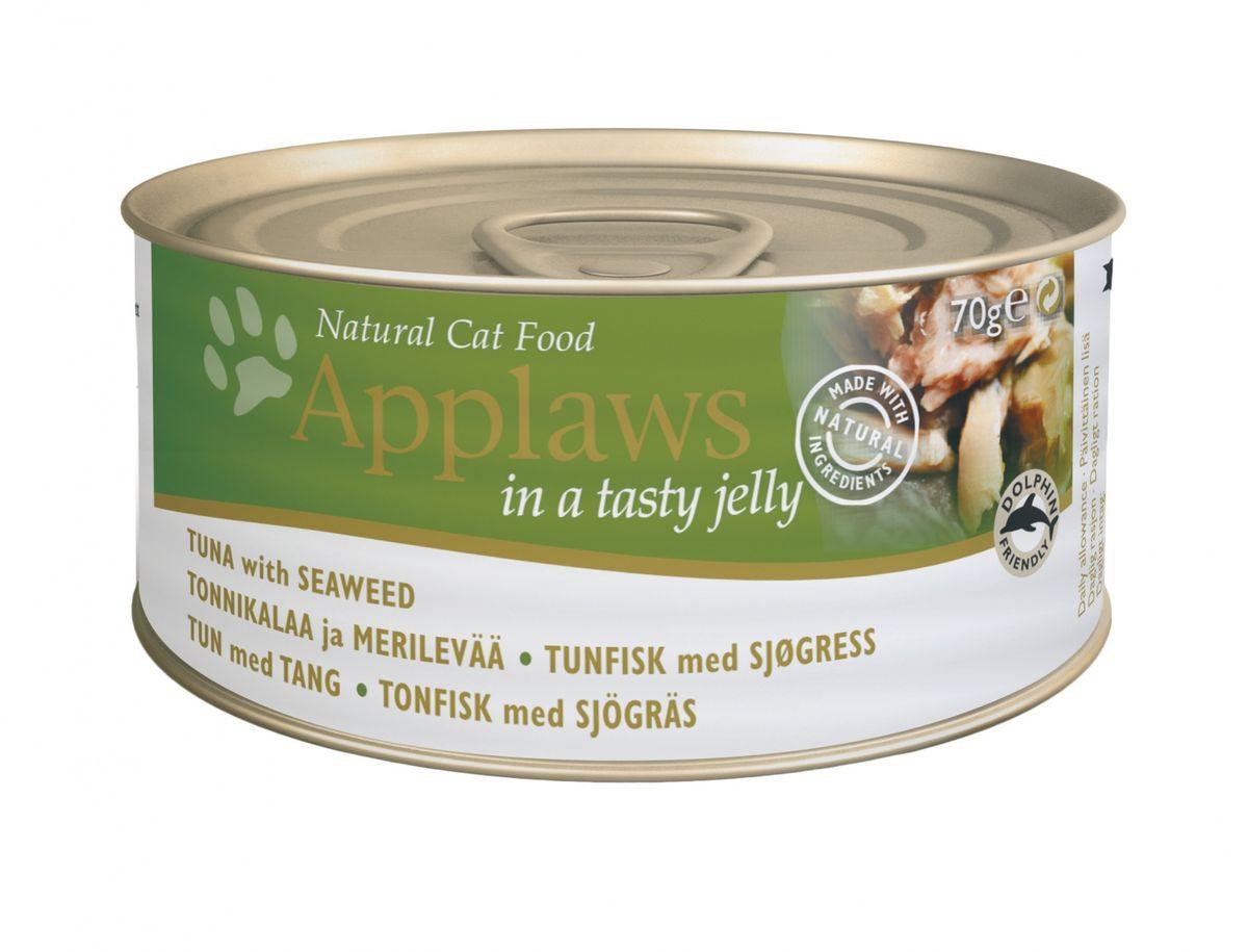 Консервы Applaws, для кошек, кусочки в желе, с тунцом и морской капустой, 70 г консервы applaws для кошек с филе тунца и креветками 70 г