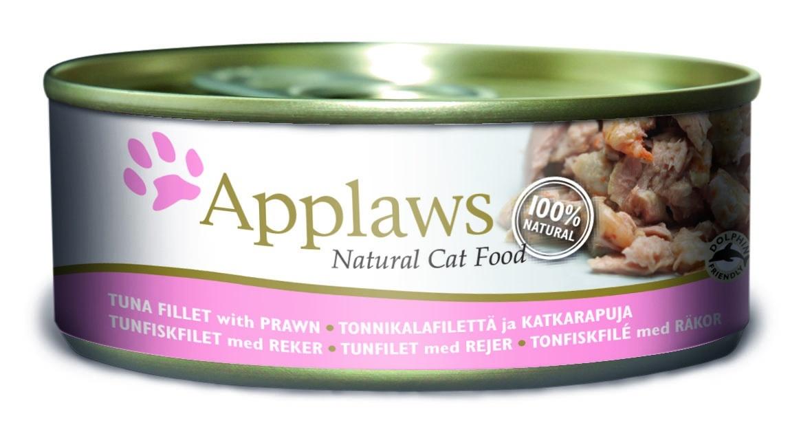 Консервы Applaws, для кошек, с филе тунца и креветками, 156 г консервы applaws для кошек с филе тунца и креветками 70 г