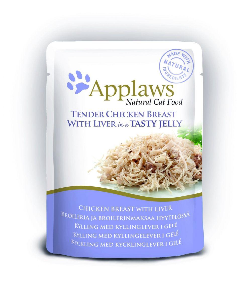 Консервы для кошек Applaws, кусочки курицы с печенью в желе, 70 г корм для кошек applaws отзывы