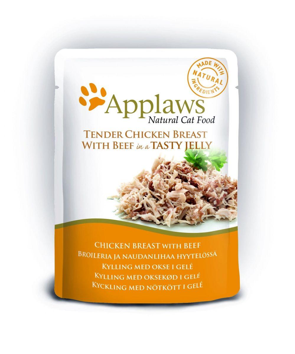 Консервы для кошек Applaws, кусочки курицы и говядины в желе, 70 г корм для кошек applaws отзывы