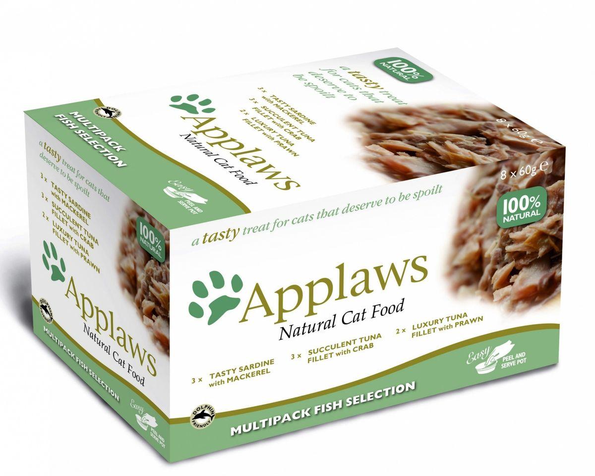 Консервы для кошек Applaws Рыбное ассорти, 8 шт х 60 г консервы applaws для кошек с филе тунца и креветками 70 г